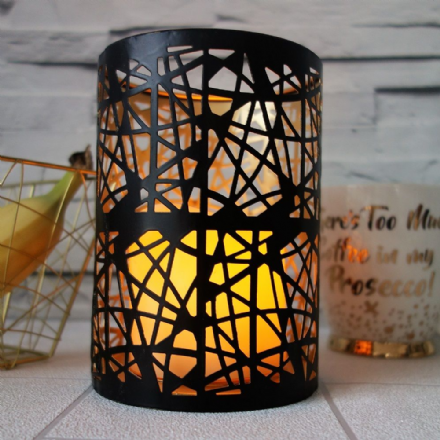 under £5 Black & Gold Abstract Candle lantern
